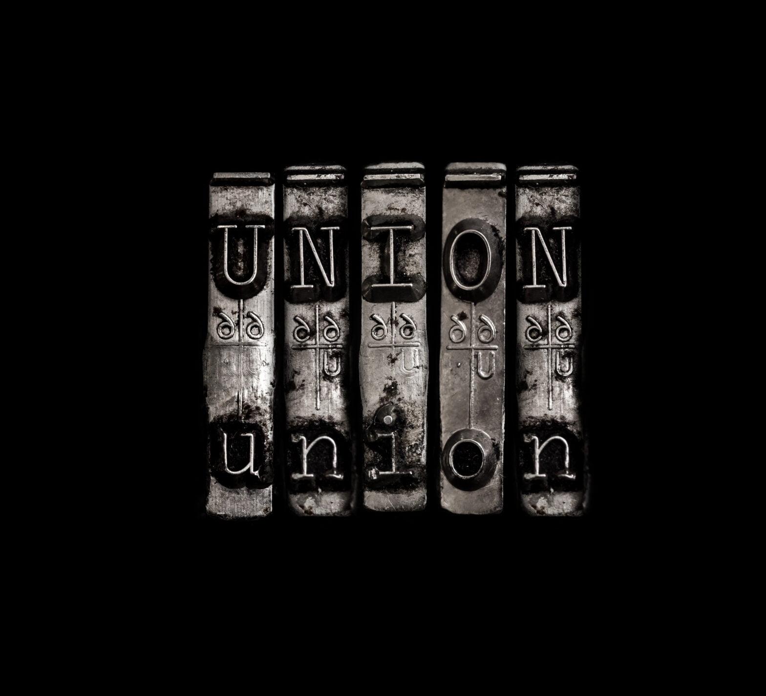 Union - fagforening, skrivemaskintaster
